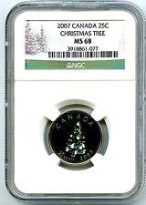 2007 CANADA 25 CENT NGC MS68 CHRISTMAS TREE QUARTER RARE   10,000 MINTED !!