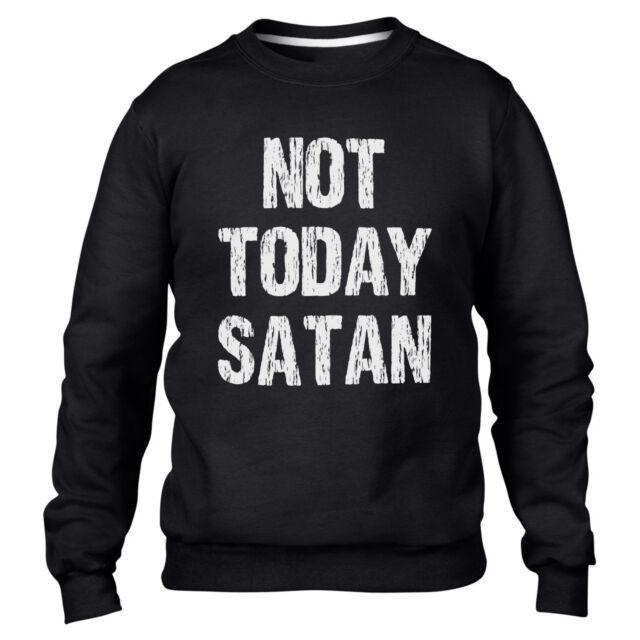 Not Today Satan Mens Sweatshirt Crucifix Top Religeon Cross Sweater