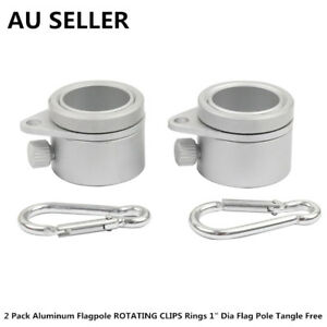 "2 Pack Aluminum Flagpole ROTATING CLIPS Rings 1"" Dia Flag Pole Tangle Free"
