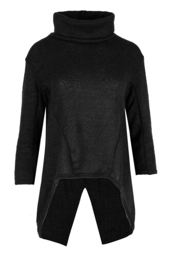 Ladies Cowl Neck Sweater Womens Dipped Hem 3//4 Sleeve Knitted Jumper Top UK 8-14