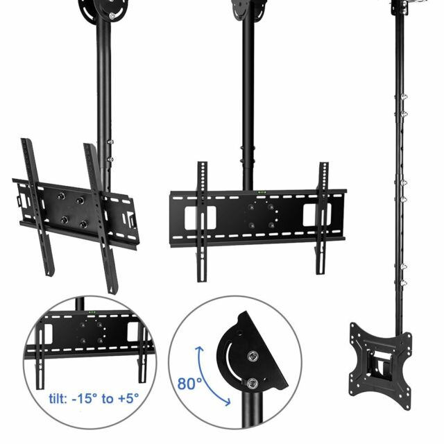 Adjustable TV Ceiling Mount Tilt Swivel Bracket 32 42 46 50 55 60 65 Load 125Lbs