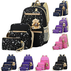 Women Backpack Girl School Satchel Shoulder Bag Rucksack Canvas Travel Bags 3PCS