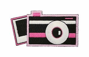 Camera iron on or sew on patch badge fabric bag clothes