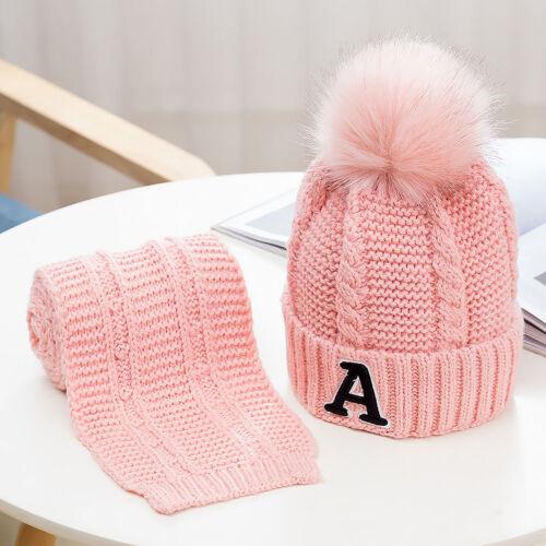Kids Warm Fleece Beanie Winter Hat Scarf Set Pom Pom Hat Girls Boys 3-12 Years
