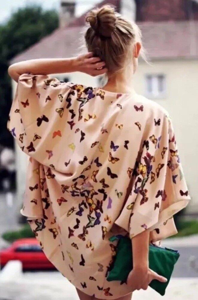 Topshop Premium Nude Wild Butterfly Vtg Celeb Blogger Kimono Drape Jacket 8 4 S