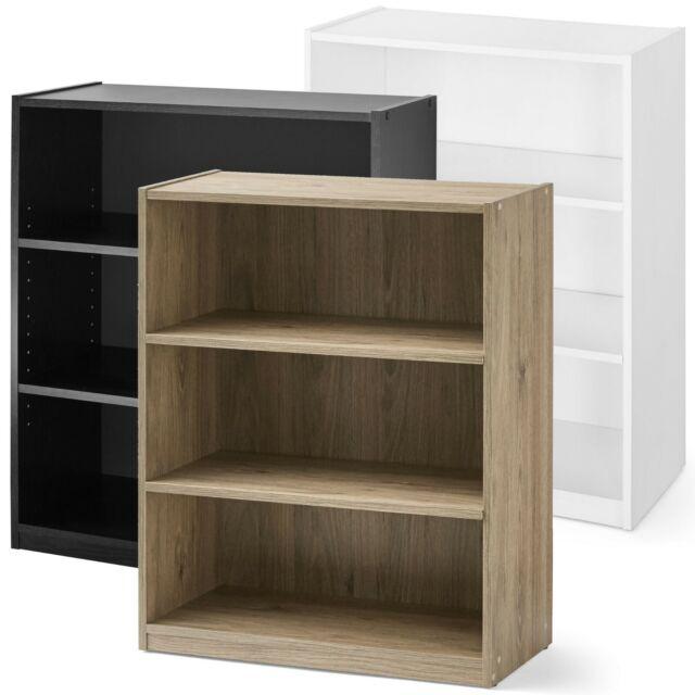 3 Shelf Wood Bookcase Wide Storage Book Display Bookshelf Adjule Shelving