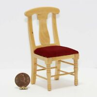 Dollhouse Miniature Natural Wood Chair With A Red Upholstered Seat