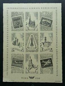 [SJ] WIEN International Airmail 1968 Airplane LIMBERG (sheetlet) MNH *imperf