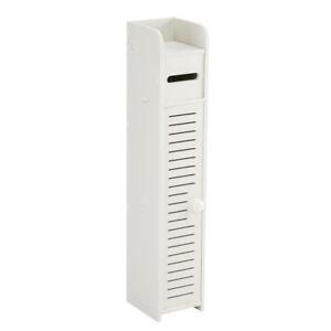 Free Standing Bathroom Tall Cabinet Narrow Storage ...