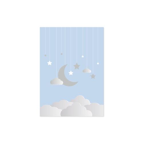 Nursery Prints Twinkle Twinkle Little Star Blue Baby Boy Kids Bedroom Moon