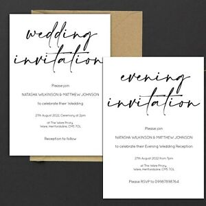Personalised WEDDING INVITATIONS Classic Minimal Black & White PK 10