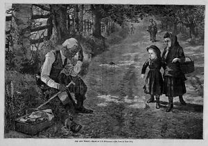 YOUNG-GIRLS-LOOKING-AT-OLD-AND-WEARY-MAN-ANTIQUE-PRINT