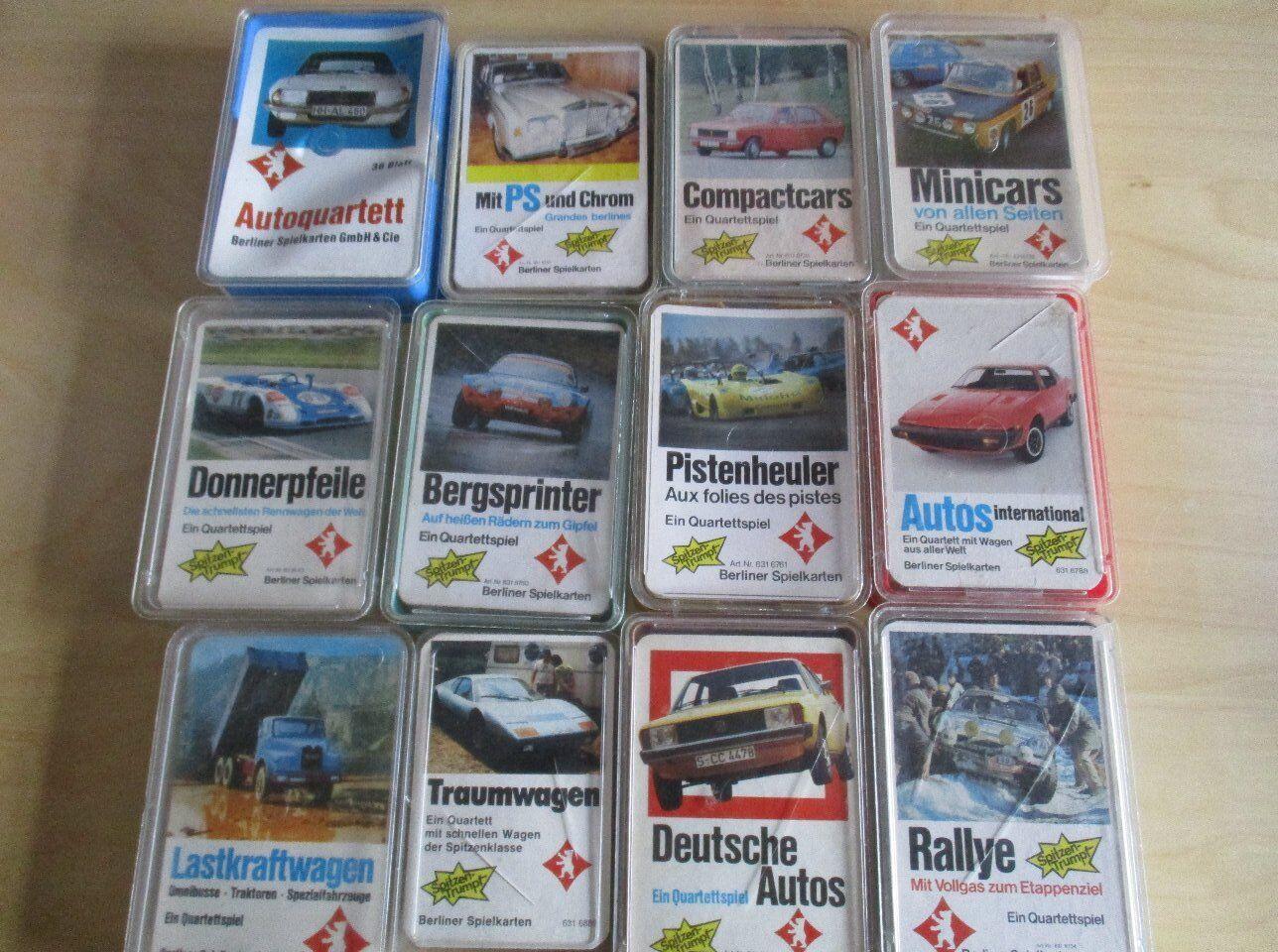 12 Technische Technische Technische Quartette Auto Autoquartette Sammlung BERLINER SPIELKARTEN 025ce3