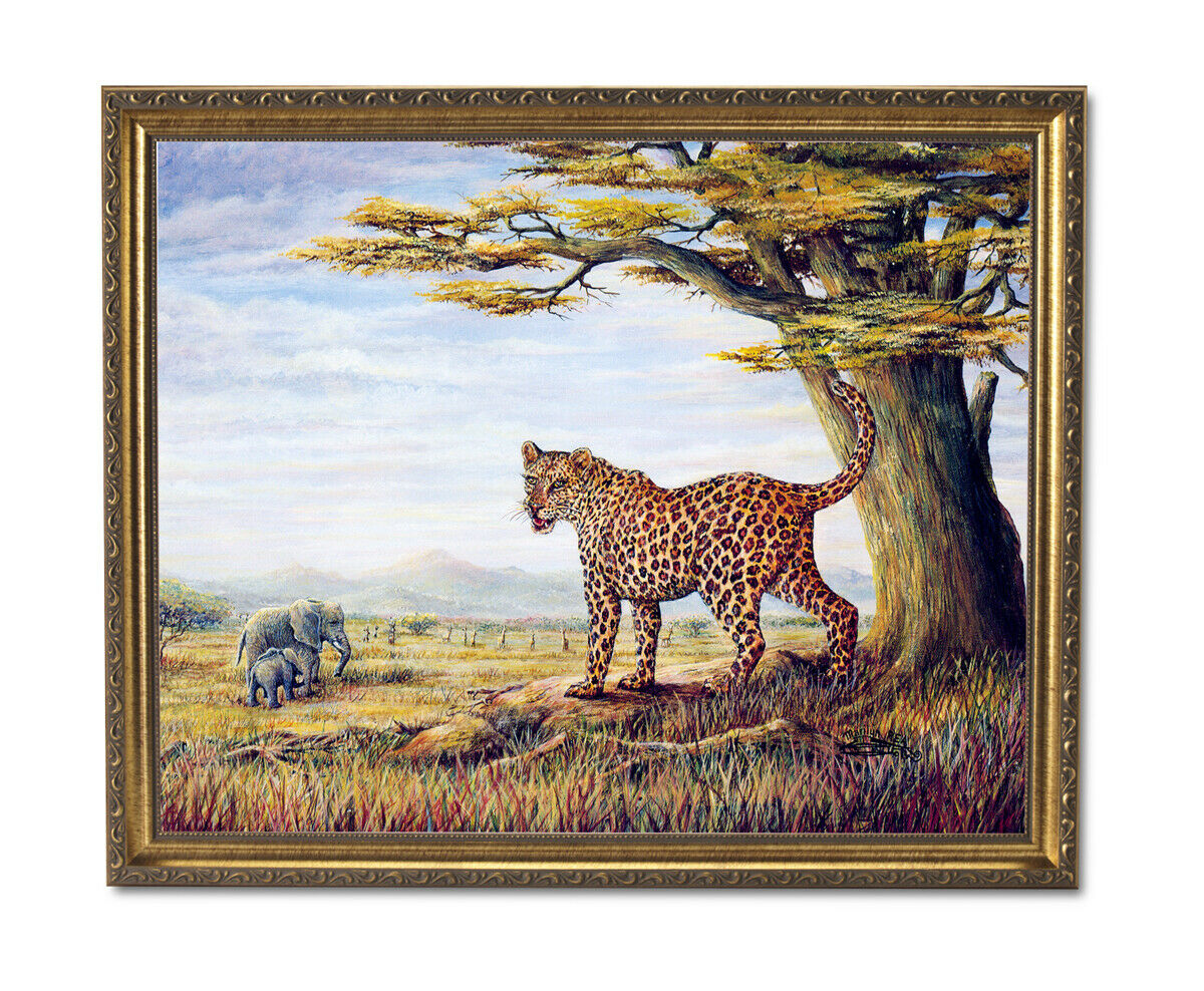 African Elephants Leopard Cat Outdoor Wall Picture Gold Framed Art Print