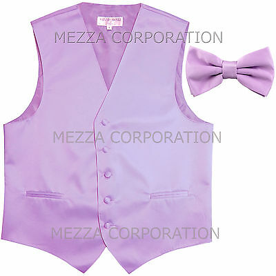 New Men/'s Vesuvio Napoli Tuxedo Vest Waistcoat Bowtie prom wedding party Pink