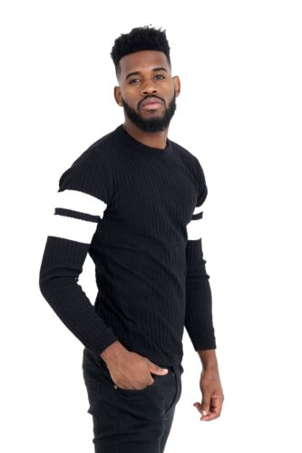 Mens Black Muscle Fit Ribbed Crew Neck Jumper With Arm Strip