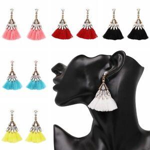 Mujer-Pendientes-largos-Aretes-cristal-borla-joyeria-Ear-Stud-Earrings