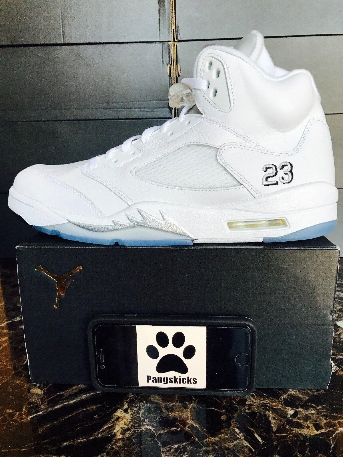 Nike Air Jordan 5 retro Metallic Blanco Metallic retro Plata 136027-130 comodo Wild Casual Shoes 3d0b55