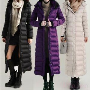 Womens Full length Jacket Winter Puffer Duck Down Coat Hooded Long ... 198d75d82e