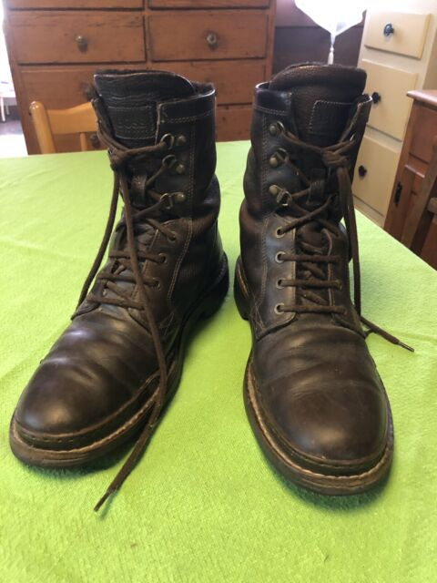 BOSS Hugo Brown Combat Boots Mens Leather Lace-Up Sz 7.5 Made Italy Great Cond