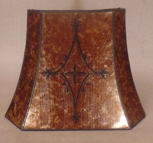 Decorated-Antique-Amber-Cut-Corner-Copper-Foil-Frame-Rectangle-Mica-Lamp-Shade