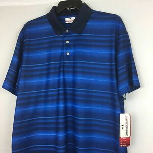 NEW-Grand-Slam-Mens-Golf-Polo-Shirt-Blue-Striped-Air-Flow-wicking-Size-S