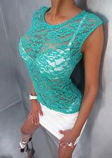 Sexy sheer blouse Chemisier blusen vert verde green fetish with heels shirt XS S