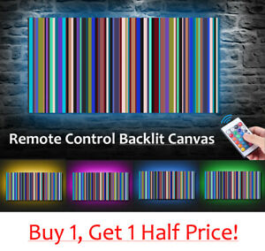 Retro-Stripes-LED-BACKLIT-Canvas-USB-Powered-Wall-Art-MULTI-COLOUR-3