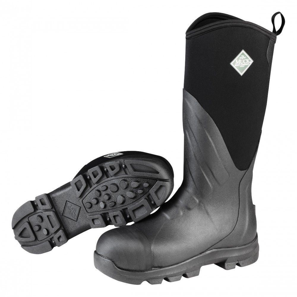 Adult Black Muck Boots Muck Grit Safety Toe Steel Toe Waterproof Work Boot