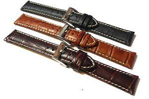 Alligator-Grain-Leather-Watch-Strap-Contrast-Stitch-18mm-20mm-22mm