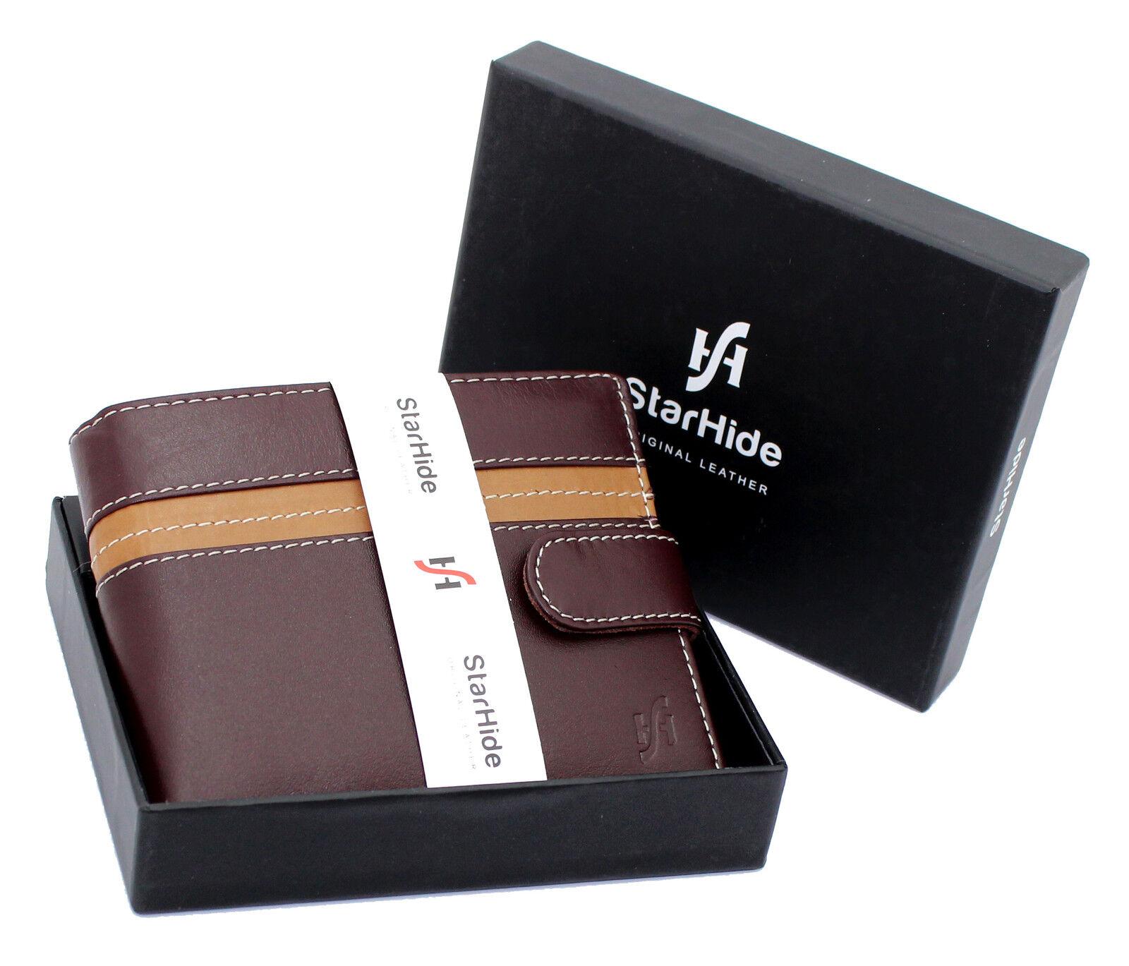 Unisex RFID Blocking Large Capacity Leather Purse Brown Tan