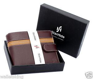 Starhide RFID Brown Trifold Leather Multi-function Organiser Wallet Purse 1135