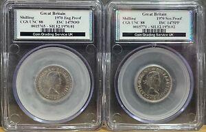CGS 88 Graded 1970 English Shilling + CGS 88 Graded Scottish Shilling Proof Set