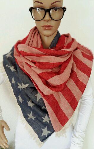 Vierecktuch Tuch Schal XXXL 60x230 Amerikanische Flagge Sterne Streifen  NEU!!!