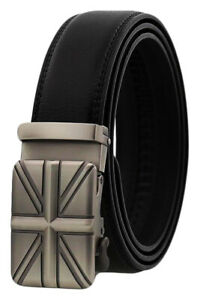 QHA Mens Womens Automatic Union Jack British Flag Leather Belt England Buckle