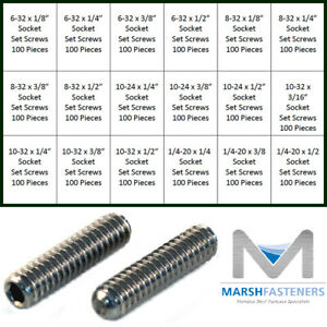 #0-80 x 1//8 Fine Thread Socket Set Screw Cup Point Stainless Steel 18-8 Pk 100
