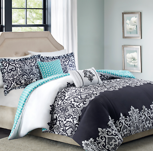 Details About Black White Aqua Damask Comforter Set 5 Piece Full Queen Reversible Bedding