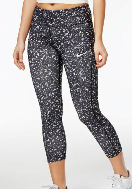 abeff4738d Nike Women s Power Essential Printed Cropped Running Leggings 831661-010  Size XS