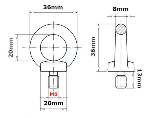 LIFTING EYE BOLTS M8 8 mm BOLT NUTS GALVANIC ZINC MALE METRIC NUT MA MAX 140KG