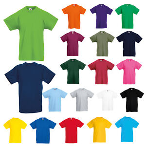 5410e26c92 FRUIT OF THE LOOM KIDS CHILDS BOYS GIRLS PLAIN COTTON TEE ORIGINAL T ...