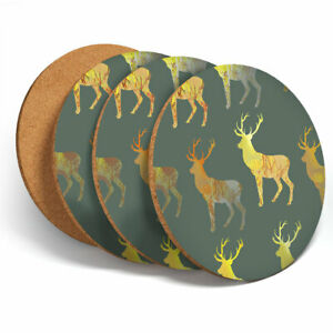 4-Set-Majestic-Gold-Stag-Deer-Coasters-Kitchen-Drinks-Coaster-Gift-13000