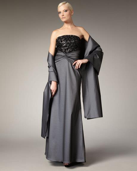 Tadashi Shoji Opal Grey Beaded Taffetta Strapless Gown & Shawl Size ...