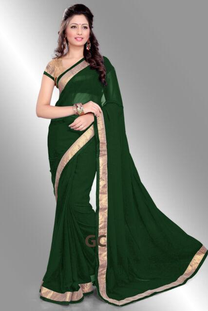 1d4145eec7cc0c Green Bollywood Chiffon Plain Golden Border Party Wear Saree Sari  BellyDance TOP