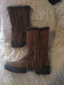 37098ff6281a8a Sam Edelman Tilden Mocha Suede Fringe Mid Calf Boots Size 6 NEW
