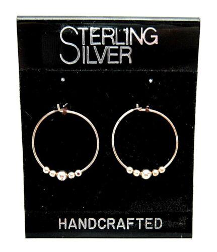 NEW 925 STERLING SILVER Beaded HOOP Earrings