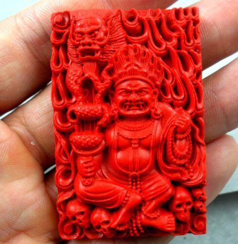 China Red Organic Cinnabar carve Mahakala pendant necklace Making jewelry D31