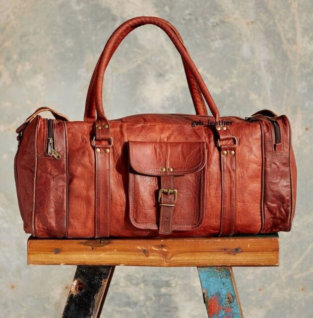 New 24 Inch Brown Vintage Genuine Leather Cowhide Travel Luggage Duffle Gym  Bags 207e50cd4c121