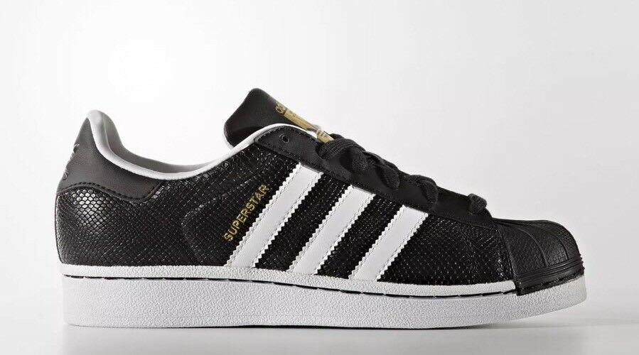 Adidas Originals Superstar Reptile J Youth Size 7 Shoes Nero/White S76995 NEW!