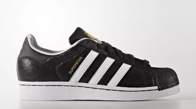 fc6bdf3fbf18 Adidas Originals Superstar Reptile J Youth Size 7 Shoes Black White S76995  NEW!