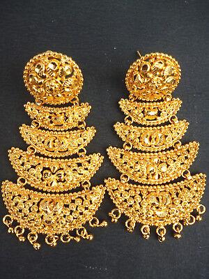 22k Gold Plated Long Designer Jhumka Earrings Indian Wedding Party Set E Ebay